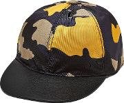 Camouflage Cap With Leather
