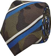 Camouflage Printed And Striped Silk Tie