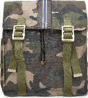 Camouflage Printed Backpack With Leather