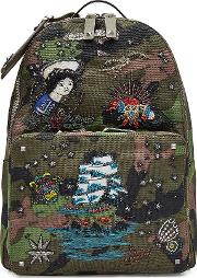 Embroidered And Embellished Canvas Backpack