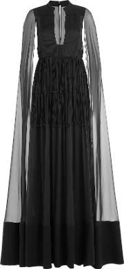 Floor Length Silk Gown With Chiffon Cape