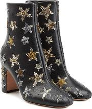 Leather Ankle Boots With Embroidery