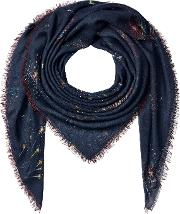 Printed Scarf With Cashmere, Silk And Wool