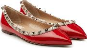 Rockstud Two Tone Patent Leather Ballerinas