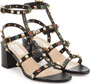 Rolling Rockstud Leather Sandals