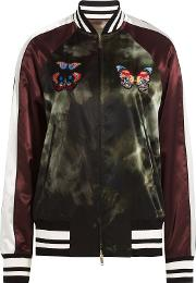 Satin Bomber Jacket With Butterfly Patches