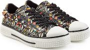 Stud Embellished Printed Leather Sneakers