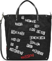 Valentino Rockstud Fabric Tote With Leather
