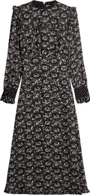 Printed Silk Dress With Oversized Collar