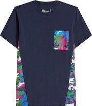 Cotton T Shirt With Camouflage Inserts