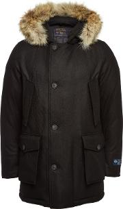 Arctic Virgin Wool Down Parka With Fur And Cashmere
