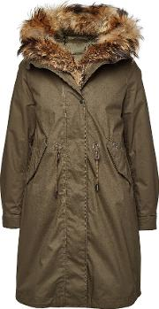 Cascade Cotton Down Parka With Raccoon