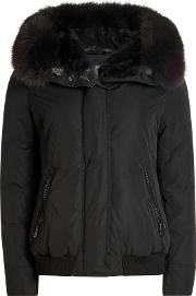 City Bomber With Down Filling And Fur Trimmed Hood