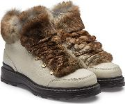 Hiker Leather Ankle Boots With Rabbit Fur