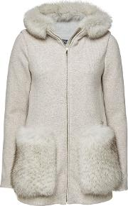 Hoody With Wool, Cotton And Fox Fur