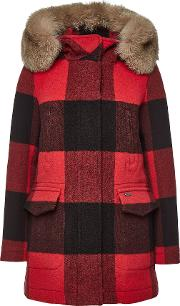 Mckenzie Checked Wool Parka With Fox Fur