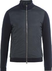 Zipped Jacket With Wool And Cotton