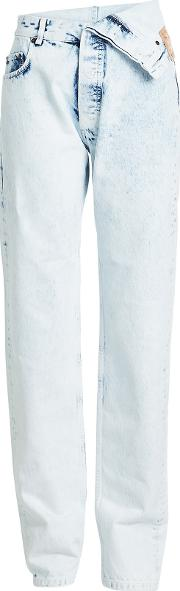 Bleached Jeans With Asymmetric Waistband