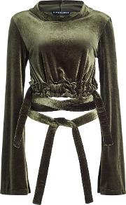 Hooded Velvet Cropped Top