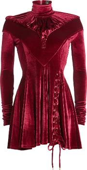 Velvet Dress With Lace Up Detail