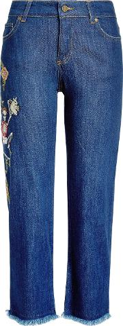 Cropped Embroidered Jeans With Frayed Hem