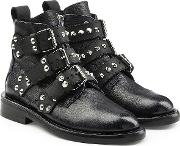 Laureen Embellished Leather Ankle Boots