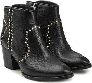 Molly Embellished Leather Ankle Boots