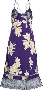 Roses Blossom Printed Silk Dress With Lace