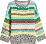 Striped Merino Wool Pullover With Embroidery