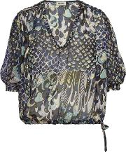 Terry Printed Silk Blouse With Metallic Detail