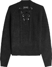 Wool Pullover With Lace Up Front
