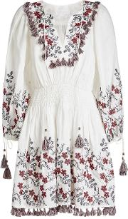 Bayou Floral Embroidered Linen Dress