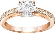 Attract Round Ring, White, Rose Gold Plating
