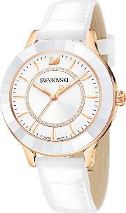Octea Lux Watch, Leather Strap, White, Rose Gold Tone