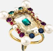 Vintage Opulescence Cocktail Ring, Multi Coloured, Gold Tone Plated