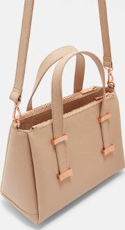 Adjustable Handle Small Leather Tote Bag