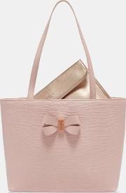 Bow Detail Small Leather Shopper Bag