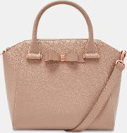 Bow Detail Zipped Leather Tote Bag