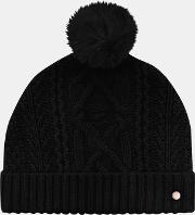 Cable Knit Wool Blend Bobble Hat