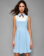Collared Bib Pleated Dress