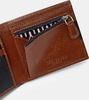 Contrast Stripe Leather Bifold Wallet