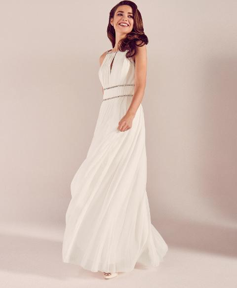 Embellished Trim Pleated Wedding Dress