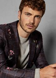 Embroidered Wool Suit Jacket