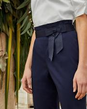 Fixed Bow Belt Cotton Trousers