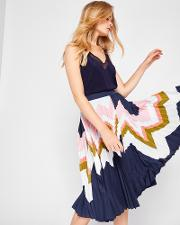 Mississippi Pleated Skirt Navy