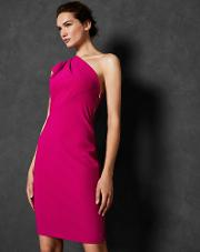 Pleat Fold One Shoulder Dress