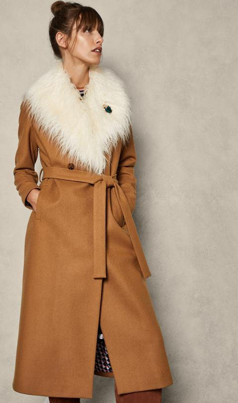 6fcb5a208 Removable Faux Fur Collar Wool Wrap Coat. Follow ted baker