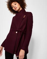 Short Wrap Cashmere-blend Coat Maroon