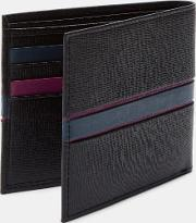 Striped Leather Bifold Wallet