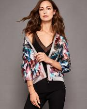 Ted Baker Mirrored Minerals Bomber Jacket Mid Grey